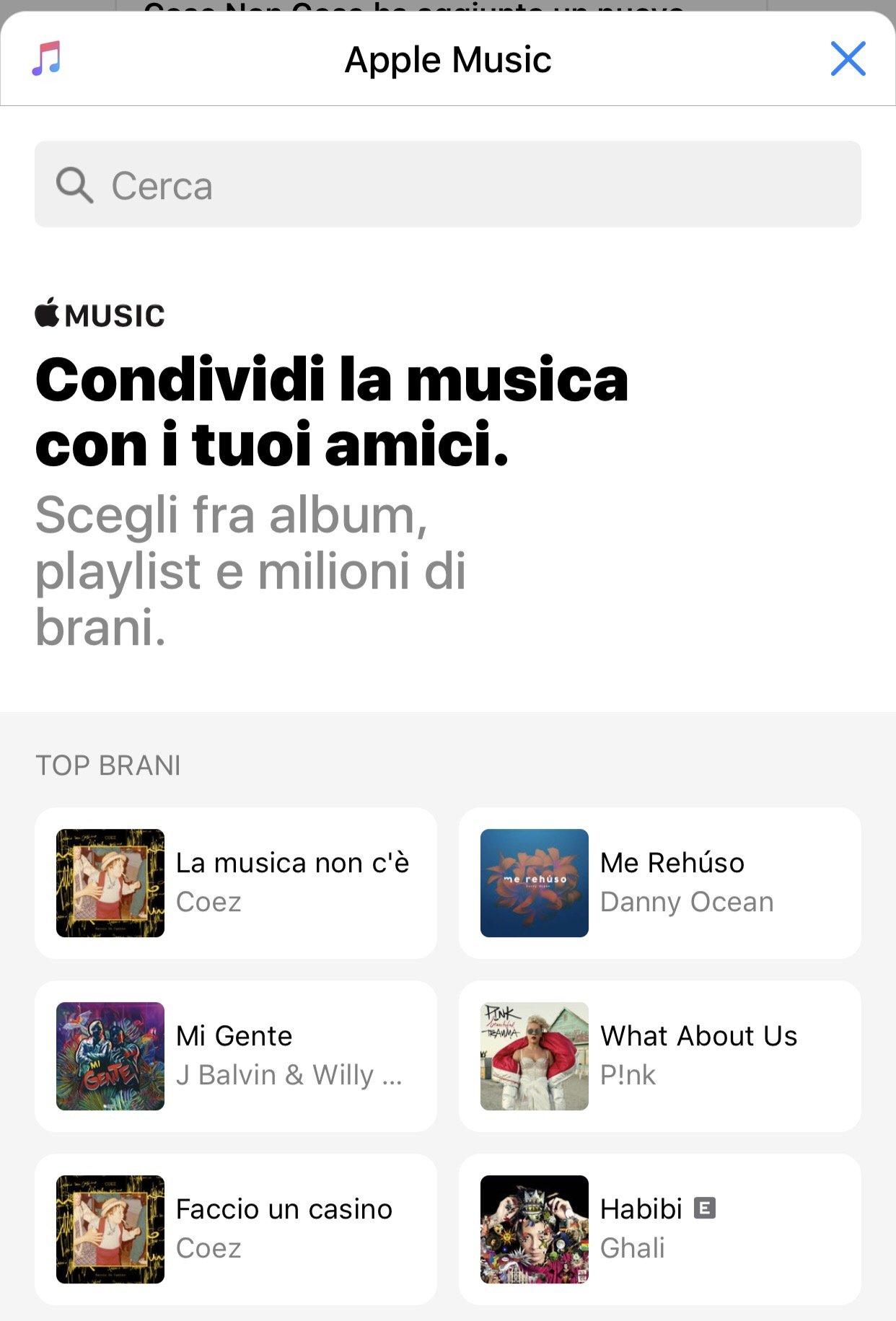 Estensione Apple Music in Messenger