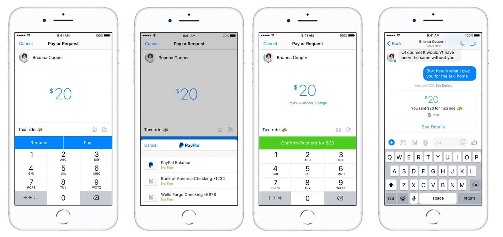 Facebook Messenger e PayPal