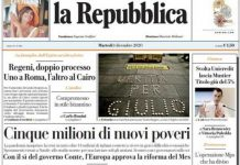 La prima pagina de La Repubblica