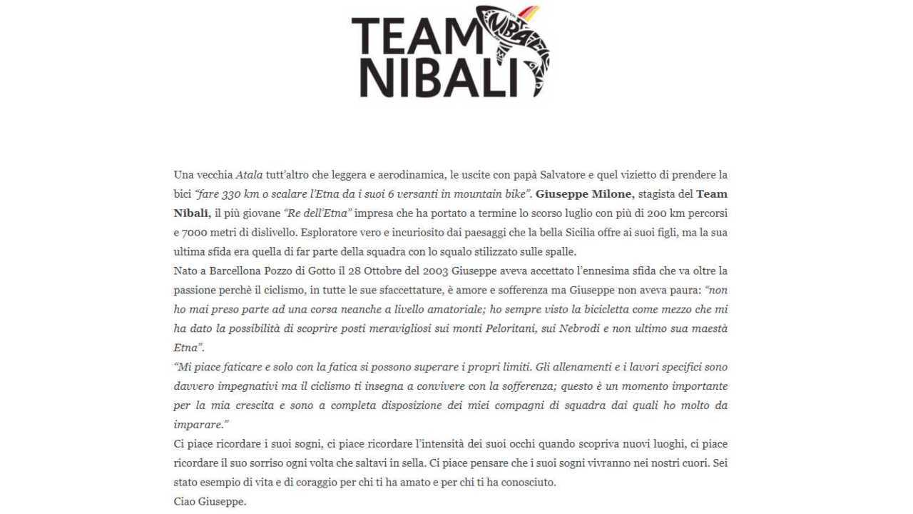 Team Nibali ricordo Giuseppe Milone