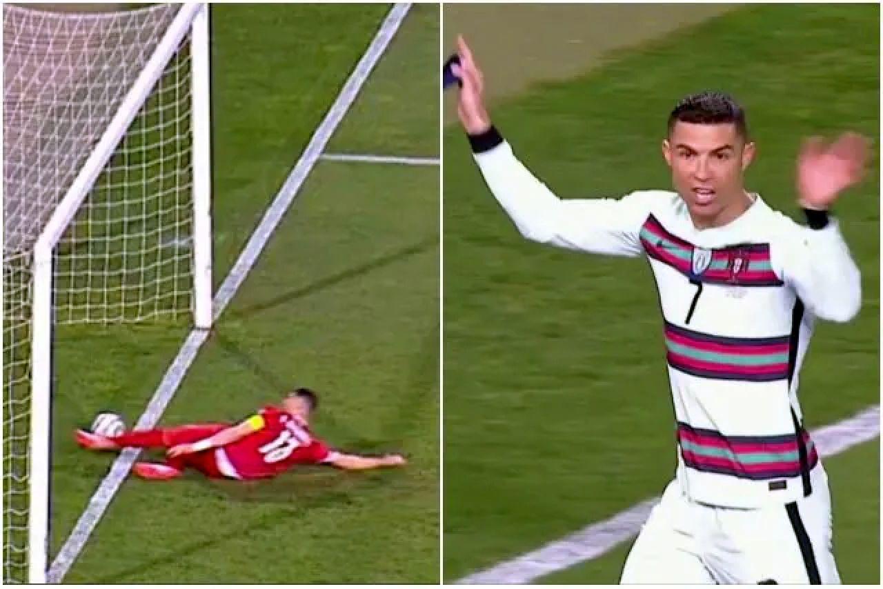 Cristiano Ronaldo furioso per il gol annullato: getta la fascia a terra