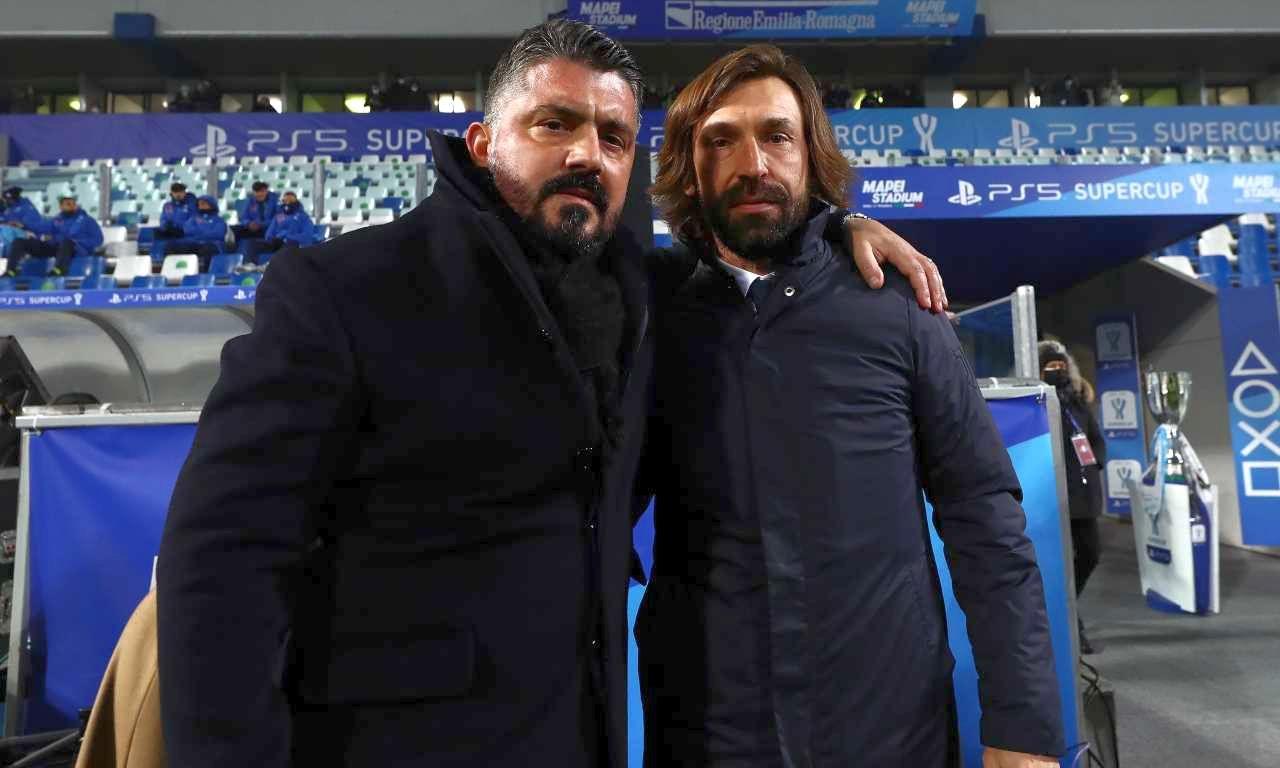 """Juventus-Napoli, Gattuso dà """"una mano"""" all'amico Pirlo e gli evita l'esonero"""