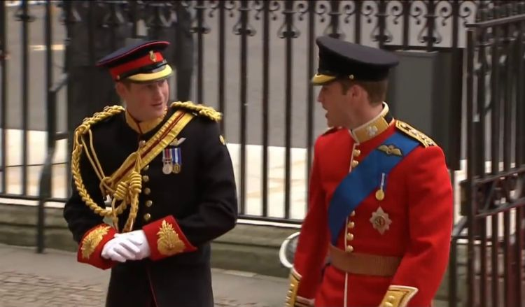 I fratelli principi Harry e William il giorno delle nozze di quest'ultimo con Kate Middleton