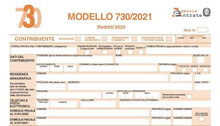 Modello 730 del 2021