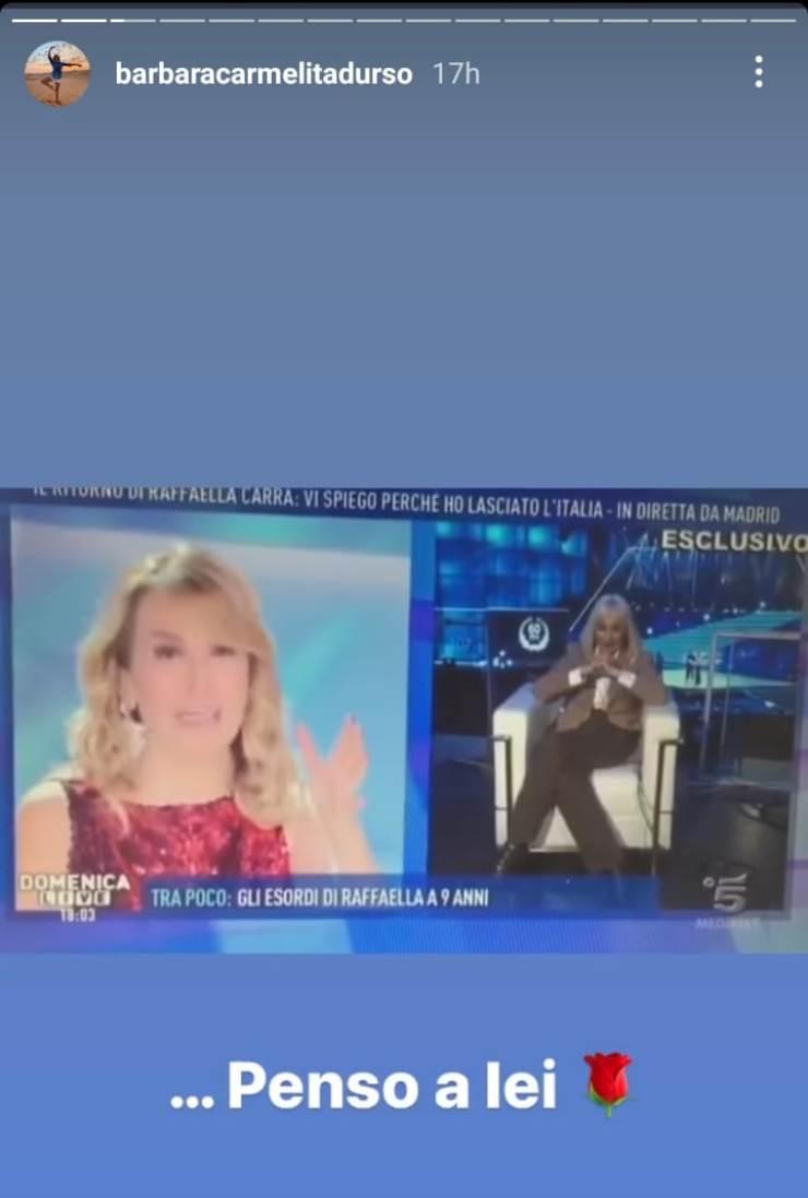 Barbara D'Urso ricorda Raffaella Carrà