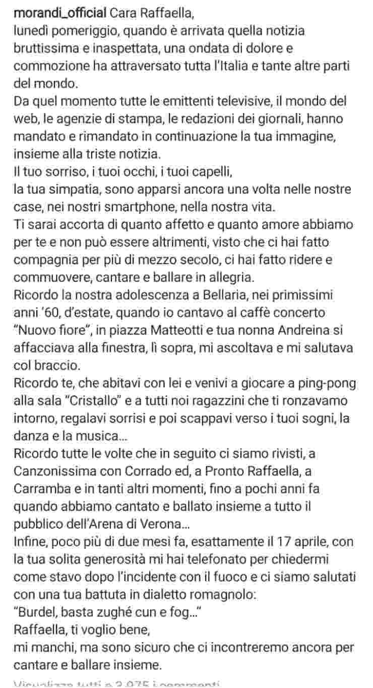 Gianni Morandi e il post su Instagram